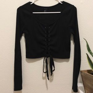 FOREVER 21 lace up long sleeve crop top